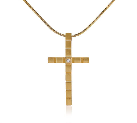 B.Tiff Box Cut Cross Pendant Gold, Stainless Steel