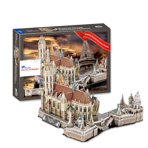 Hungary Matthias Church Fisherman's Bastion 3D Puzzle (176 Pieces)