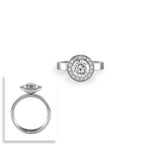 B.Tiff Aŭreolo 2 ct Stainless Steel Round Halo Engagement Ring Sizes 5 - 10