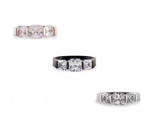B.Tiff 3-Stone Cushion Cut Stainless Steel Engagement Ring Tension Set Silver Black Rose Gold
