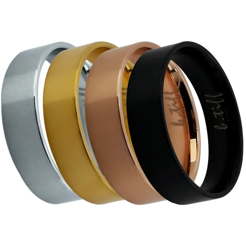 B.Tiff Brushed Band Stacking Ring Stainless Steel Black, Gold, Steel, Rose Gold