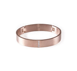 B.Tiff 4-Stone Wide Stainless Steel Pavé Bangle Bracelet Rose Gold, Gold, Black, Steel, Small, Med, Large