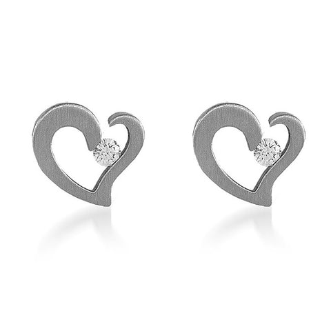 B.Tiff Stainless Steel Heart Earrings Diamond Alternative