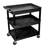 Luxor 3 shelf large black tub cart