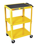 Luxor yellow metal 3 shelf presentation cart w/ electric