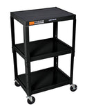 Luxor black metal 3 shelf presentation cart