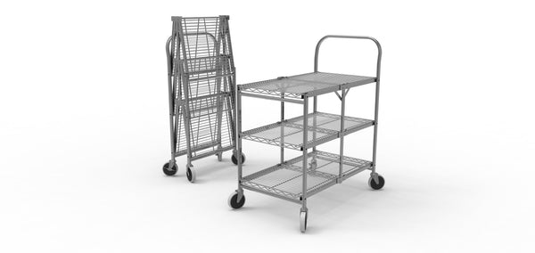 Three-shelf collapsible wire utility cart