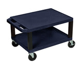 Luxor tuffy navy blue 2 shelf av cart w/ black legs