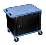 Luxor tuffy blue 2 shelf av cart w/ cabinet & electric