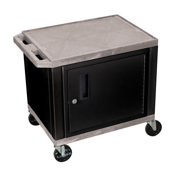 Luxor tuffy gray 2 shelf av cart w/ black cabinet & electric