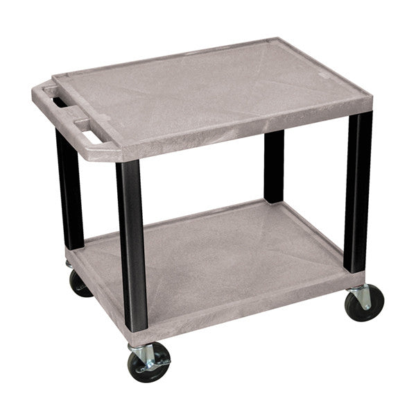 Luxor tuffy gray 2 shelf av cart w/ black legs & electric