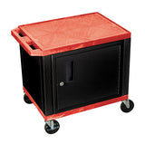 Luxor tuffy red 2 shelf av cart w/ black legs, cabinet & electric