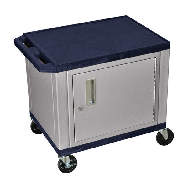 Luxor Tuffy Navy Blue 2 Shelf AV Cart W/ Nickel Cabinet & Electric