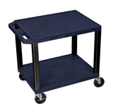 Luxor tuffy navy blue 2 shelf av cart w/ black legs & electric
