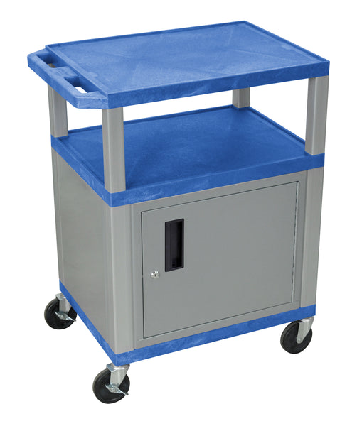 Luxor Tuffy Blue 3 Shelf AV Cart W/ Nickel Legs, Cabinet & Electric