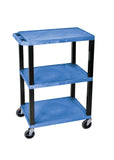 Luxor blue 3 shelf specialty utility cart
