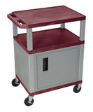 Luxor Tuffy Burgundy 3 Shelf AV Cart W/ Nickel Legs ,Cabinet & Electric