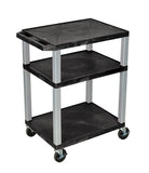 Luxor tuffy black 3 shelf av cart