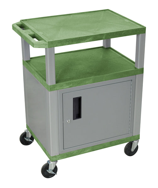 Luxor Tuffy Green 3 Shelf AV Cart W/ Nickel Legs, Cabinet & Electric