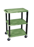 Luxor green 3 shelf specialty utility cart