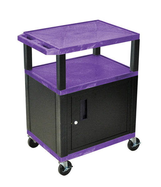 Luxor tuffy purple 3 shelf av cart w/ black legs, cabinet & electric