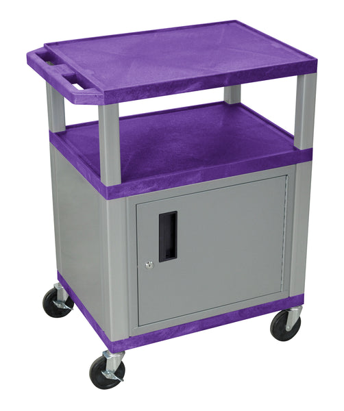 Luxor Tuffy Purple 3 Shelf AV Cart W/ Nickel Legs, Cabinet & Electric