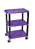 Luxor purple 3 shelf specialty utility cart