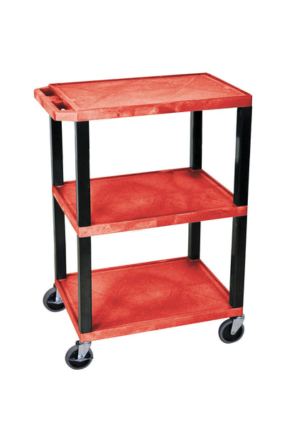 Luxor red 3 shelf specialty utility cart
