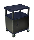 Luxor tuffy navy blue 3 shelf av cart w/black legs, cabinet & electric