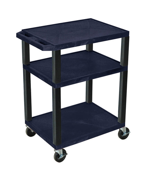 Luxor tuffy navy blue 3 shelf av cart w/ black legs & electric