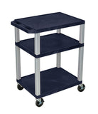 Luxor Tuffy Navy Blue 3 Shelf AV Cart w/ Nickel Legs & Electric