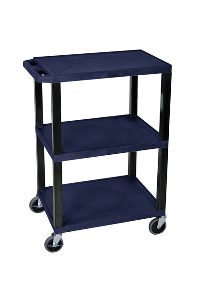 Luxor navy blue 3 shelf specialty utility cart