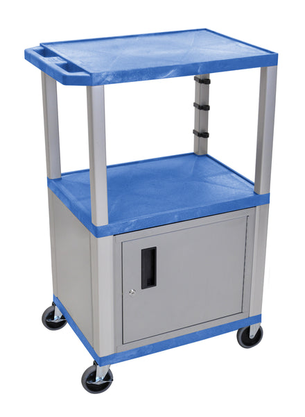 "Luxor Blue Tuffy 3 Shelf 42"" AV Cart W/ Nickel Legs, Cabinet & Electric"