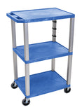 "Luxor Blue Tuffy 3 Shelf 42"" AV Cart w/ Nickel Legs & Electric"