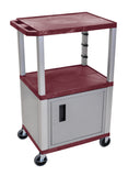 "Luxor burgundy tuffy 3 shelf 42"" av cart w/ nickel legs, cabinet & electric"