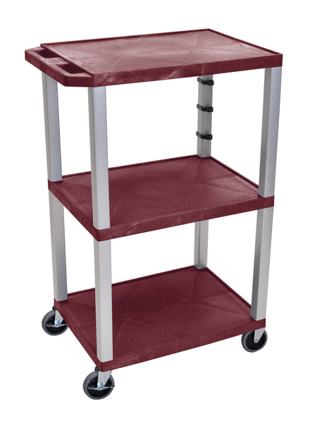 "Luxor Burgundy Tuffy 3 Shelf 42"" AV Cart  w/ Nickel Legs & Electric"