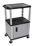 "Luxor Black Tuffy 3 Shelf 42"" AV Cart W/ Nickel Legs, Cabinet & Electric"