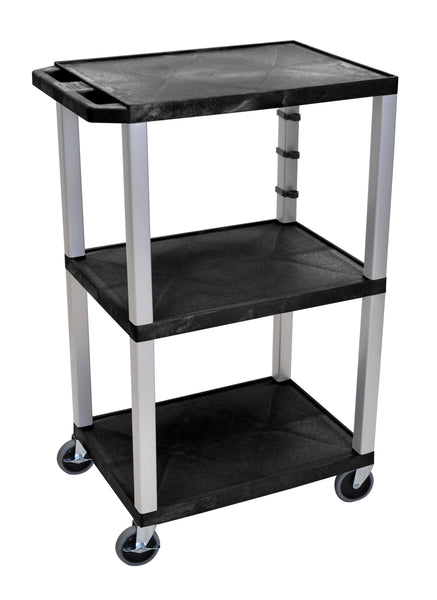 "Luxor Black Tuffy 3 Shelf 42"" AV Cart w/ Nickel Legs & Electric"
