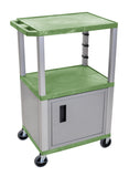"Luxor Green Tuffy 3 Shelf 42"" AV Cart W/ Nickel Legs, Cabinet & Electric"