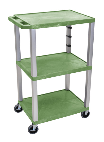 "Luxor Green Tuffy 3 Shelf 42"" AV Cart w/ Nickel Legs & Electric"