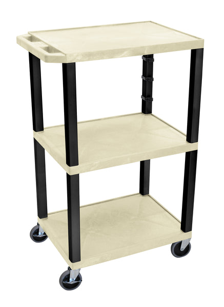"Luxor putty tuffy 3 shelf 42"" av cart w/ black legs & electric"