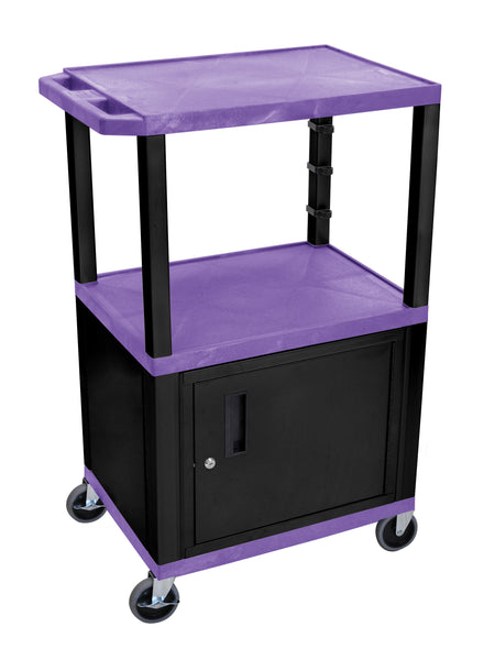 "Luxor purple tuffy 3 shelf 42"" av cart w/ black legs, cabinet & electric"