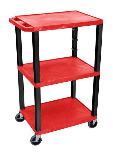 "Luxor red tuffy 3 shelf 42"" av cart w/ black legs & electric"