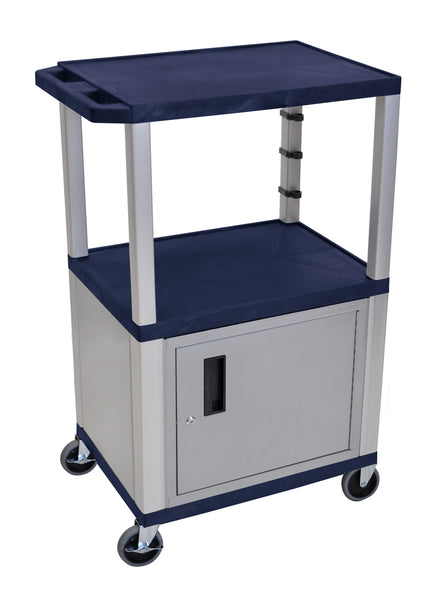 "Luxor Navy Blue Tuffy 3 Shelf 42"" AV Cart W/ Nickel Legs, Cabinet & Electric"