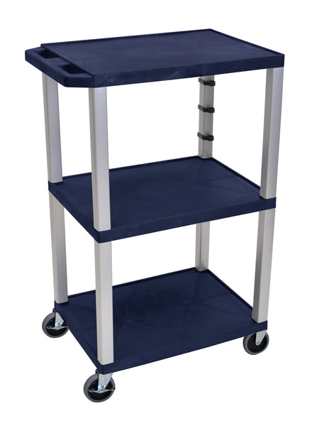 "Luxor Navy Blue Tuffy 3 Shelf 42"" AV Cart w/ Nickel Legs & Electric"