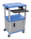 "Luxor tuffy blue 42"" 3 shelf cart w/ black pullout shelf & nickel cabinet, legs  & electric"