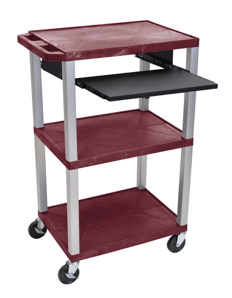 "Luxor tuffy burgundy 42"" 3 shelf cart w/ black pullout shelf & nickel legs & electric"