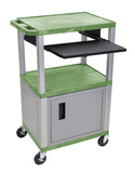 "Luxor tuffy green 42"" 3 shelf cart w/ black pullout shelf & nickel cabinet, legs & electric"
