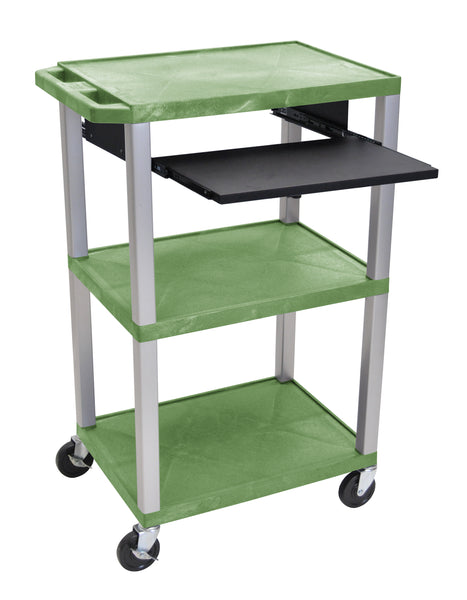 "Luxor tuffy green 42"" 3 shelf cart w/ black pullout shelf & nickel legs & electric"
