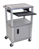 "Luxor tuffy gray 42"" 3 shelf cart w/ black pullout shelf & nickel cabinet, legs & electric"